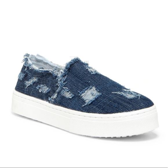 3309c69ad1eb SAM EDELMAN Lacey distressed denim slip on sneaker.  M 5a79019d3a112e274e3da359